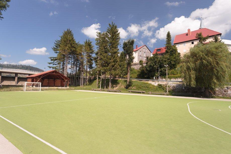 Soccer playground near the school